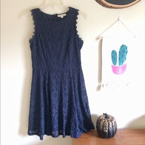 Rebellion Navy Lace Fit and Flare Dress
